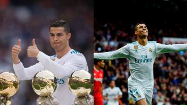 Cristiano Ronaldo Shows Off Fifth Ballon d'Or, Scores A Brace