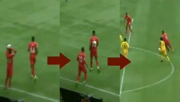 Canada's Junior Hoilett Throws Ball Off Teammate's Back En Route To Great Goal