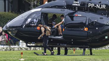 Neymar Arrives To Training In Batman-Inspired Helicopter