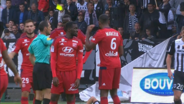 Lyon's Marcelo Receives a Red Card For Hitting the Yellow Card Out of the Referee's Hand