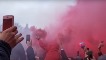 Liverpool Fans Greet Man City Bus With Menacing Wall Of Flares