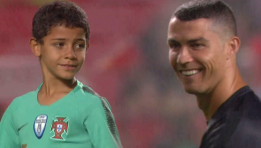 Cristiano Jr Impresses His Dad With A Wicked Free Kick