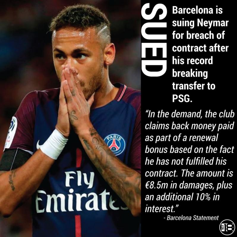 Barcelona plan to sue Neymar