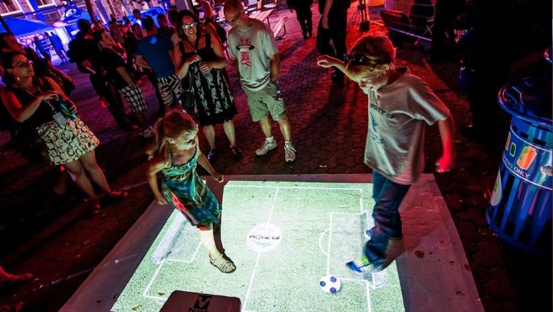 Interactive Floor Display - Kids and Pets Play Virtual Soccer