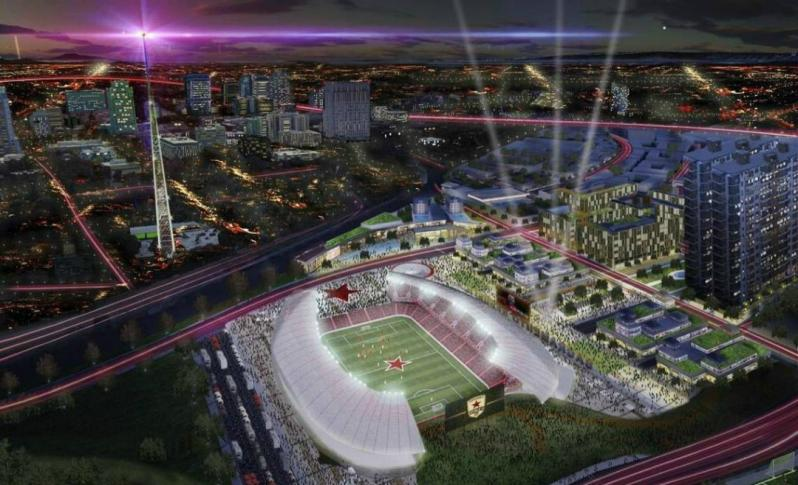 A rendering of the new Sacramento Republic FC stadium, should the MLS expansion move forward