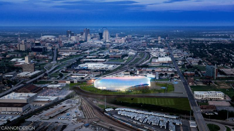 The proposed stadium in Saint Louis, should an MLS expansion team be granded
