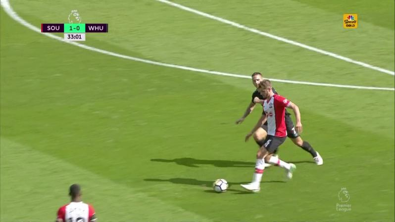 Marko Arnautovic Red Card - He catches Jack Stephens