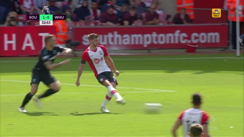 Marko Arnautovic Red Card - He offers Jack Stephens his elbow