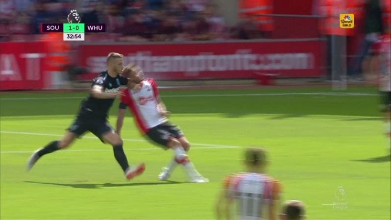Marko Arnautovic Red Card - Jack Stephens eats an elbow