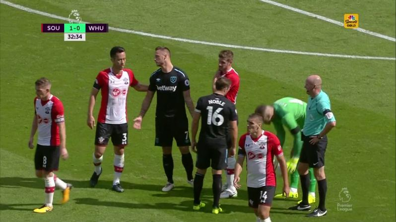 Marko Arnautovic Red Card - Arnautovic seeks sympathy from Southampton player