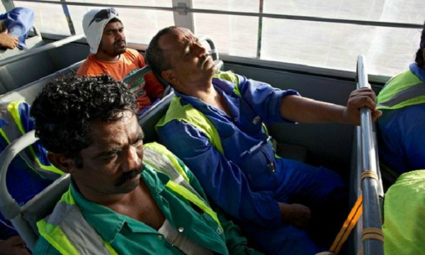 Qatar migrant workers were bussed to and from the marathon, which they were forced to run in the blistering heat
