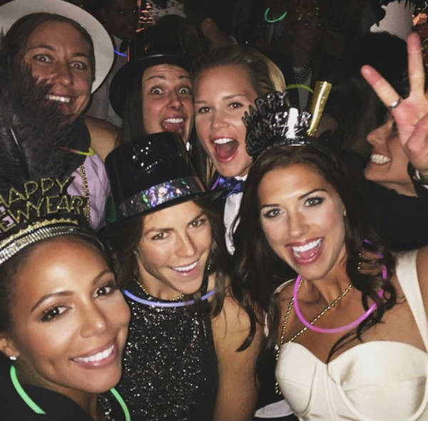 Partygoers including soccer celebrities celebrate at Alex Morgan's wedding