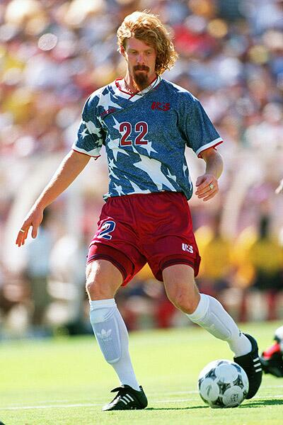 Alexi Lalas in denim for USA in 2994