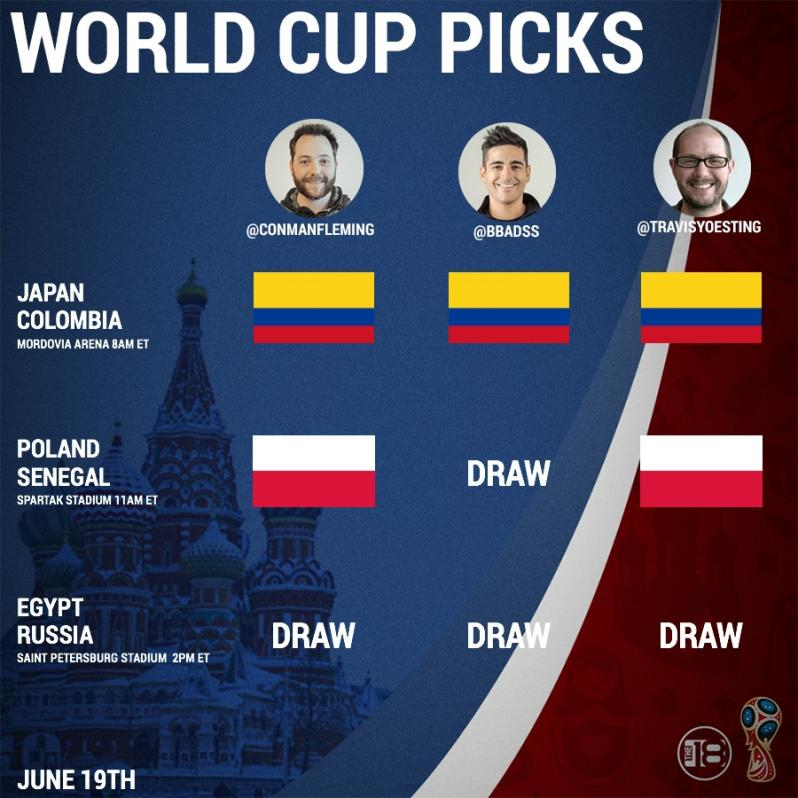 World Cup Predictions For Colombia-Japan, Poland-Senegal, and Russia