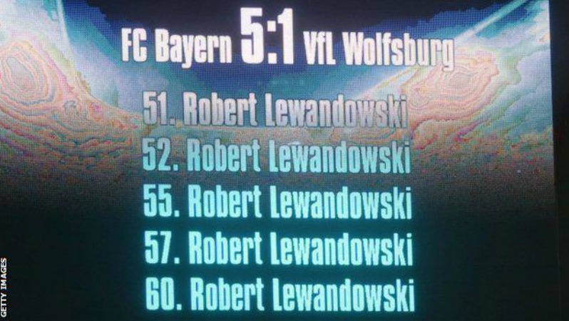 Greatest Single Game Performance: the scoreboard showing Lewandowski's 5 goals in 9 minutes.