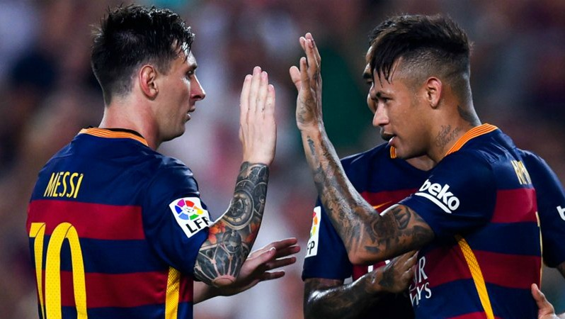 Messi And Neymar High Five During A Game