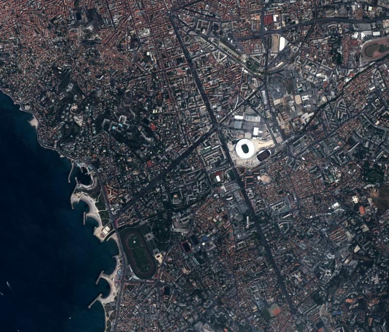 pictures of amazing stadiums, stade velodrome from space